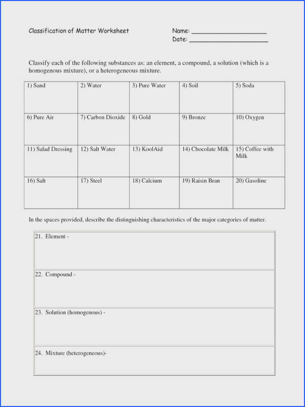 Classification Matter Worksheet with Answers Unique Best 25 Matter Worksheets Ideas Pinterest s