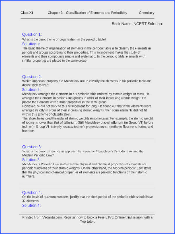Classification Matter Worksheet with Answers New Ncert solutions for Class 11 Chemistry Chapter 3 Classification