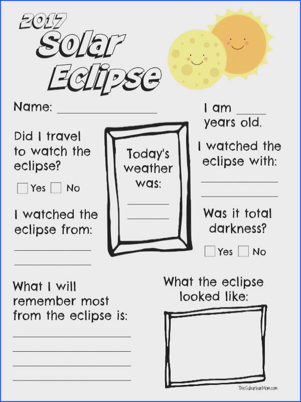 2017 Solar Eclipse Worksheet Printable The Suburban Mom
