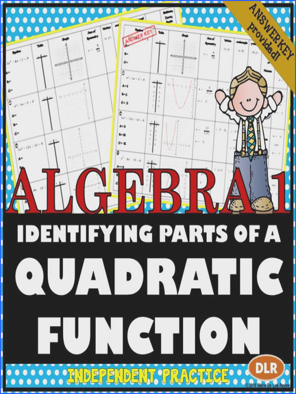 Identifying Parts of a Quadratic Function Worksheet Great plement to an introductory lesson on Quadratic Functions