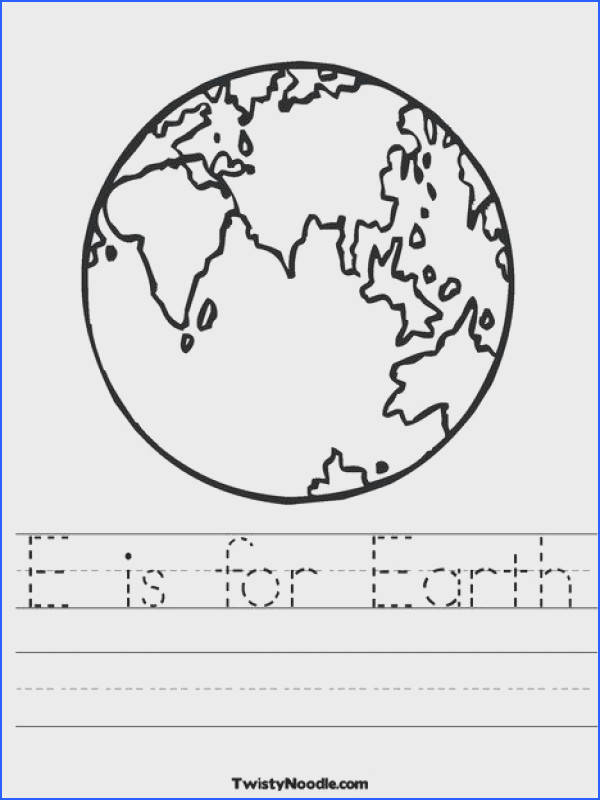 E is for Earth Worksheet from TwistyNoodle