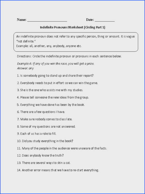 This indefinite pronouns worksheet instructs the student to circle the indefinite pronoun or pronouns in each sentence