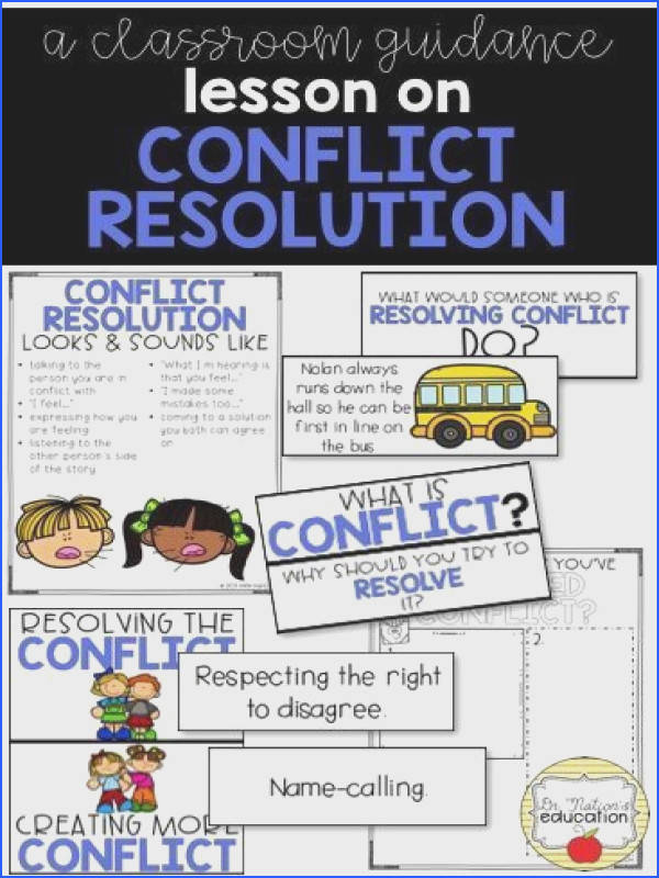 A classroom lesson on conflict resolution Leads the discussion on how to resolve conflict at