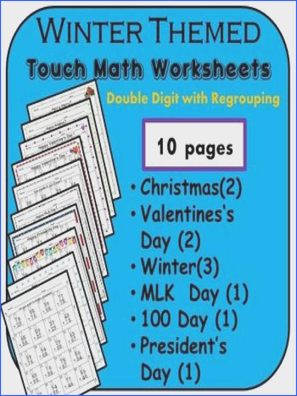 10 worksheets of Touch Math addition with regrouping each with a cute winter theme