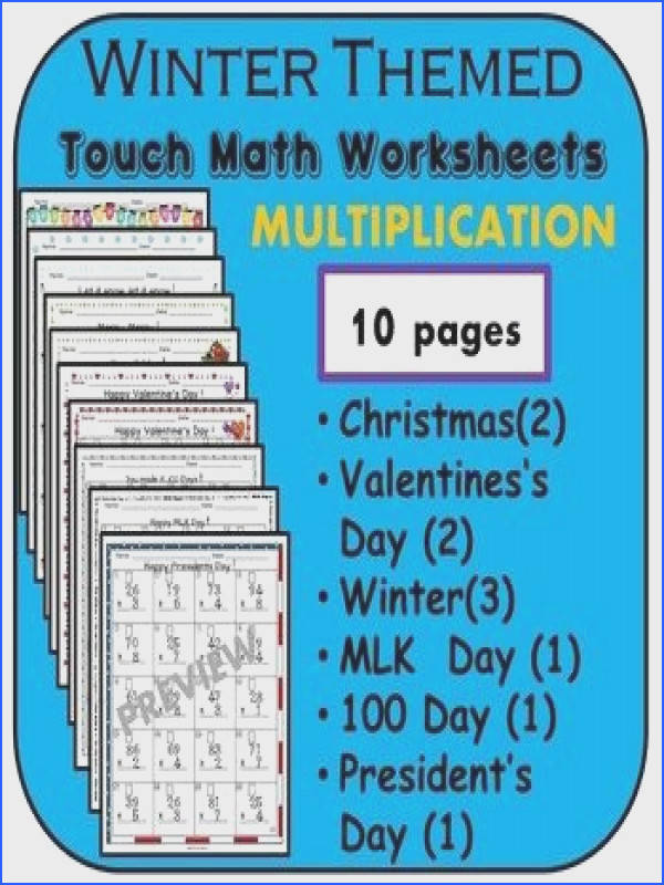 10 worksheets of Touch Math Multiplication each with a cute winter theme Included are