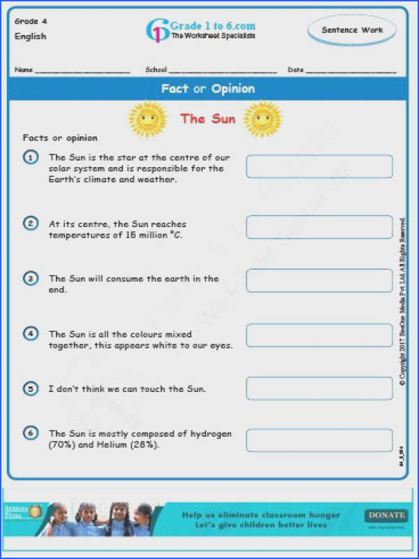 Fact or Opinion Worksheets for Grade 4