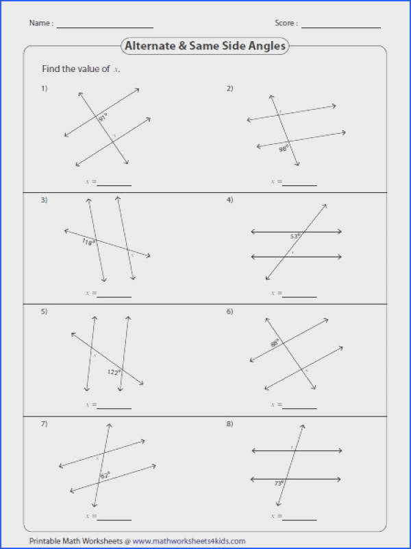 The worksheets prise angles formed by a transversal line such as corresponding interior exterior alternate and same side angles