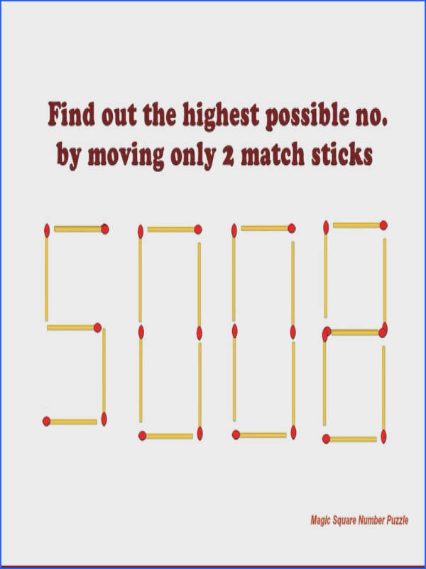 Solution to this riddle Remove top and bottom match sticks from the second digit and put them vertically in between the newly formed This gives th