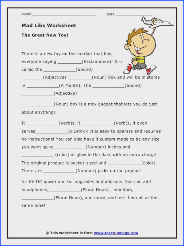 Mad libs parts of speech worksheets