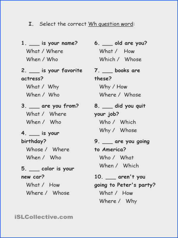 Exercises Wh question words