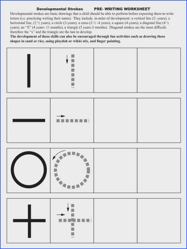 Pre Writing Strokes Worksheets More