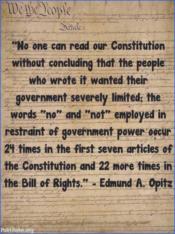 """Constitutional Republic = Limited Government """"No one can read our Constitution without concluding that the"""