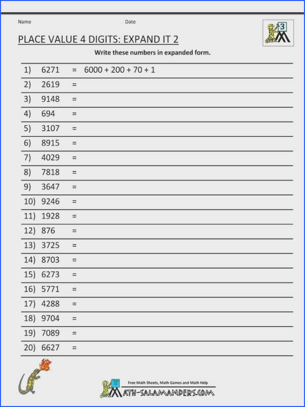 place value worksheets 2 digits expand it 2