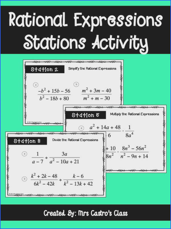 Rational Expressions Activity for high school Algebra Simplifying rational expressions adding and subtracting rational