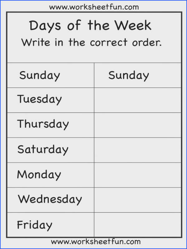 days of the week worksheet free so many more free worksheets for daily reinforcement skills
