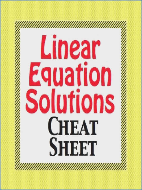 Linear Equation Solutions Cheat Sheet Foldable