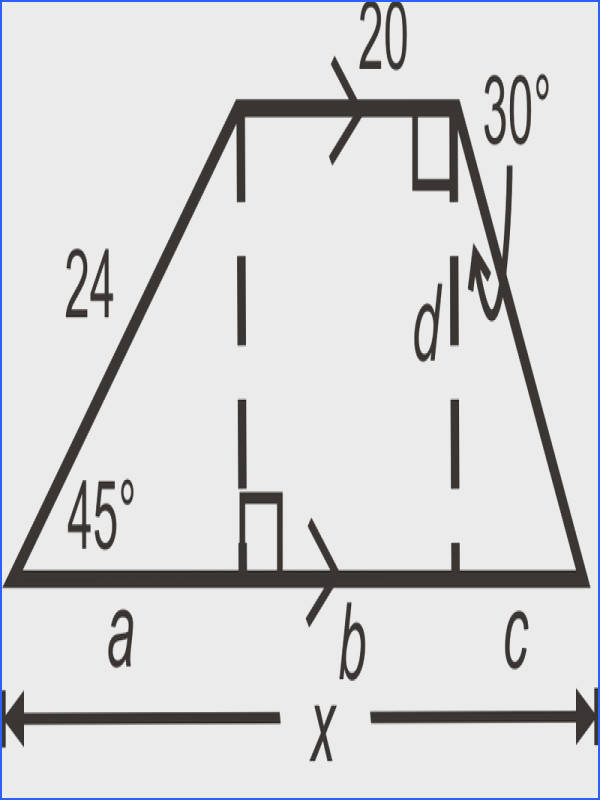 Think of this trapezoid as a rectangle between a 45 45 90 triangle and a 30 60 90 triangle