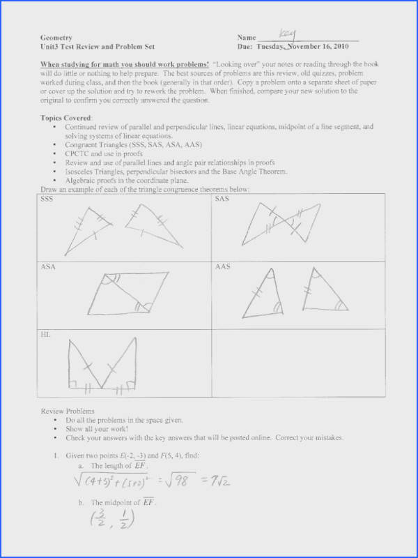 Triangle Congruence Worksheet 1 Answer Key Beautiful Geometry Worksheet Congruent Triangles asa and Aas Answers