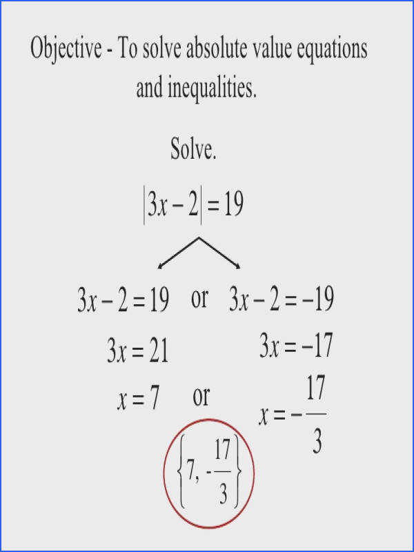 Objective To solve absolute value equations and inequalities