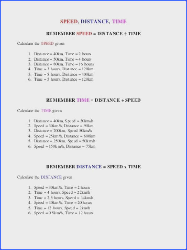 Speed Distance Time Worksheet Awesome Distance Time and Average Speed 30 Unique Speed Distance Time