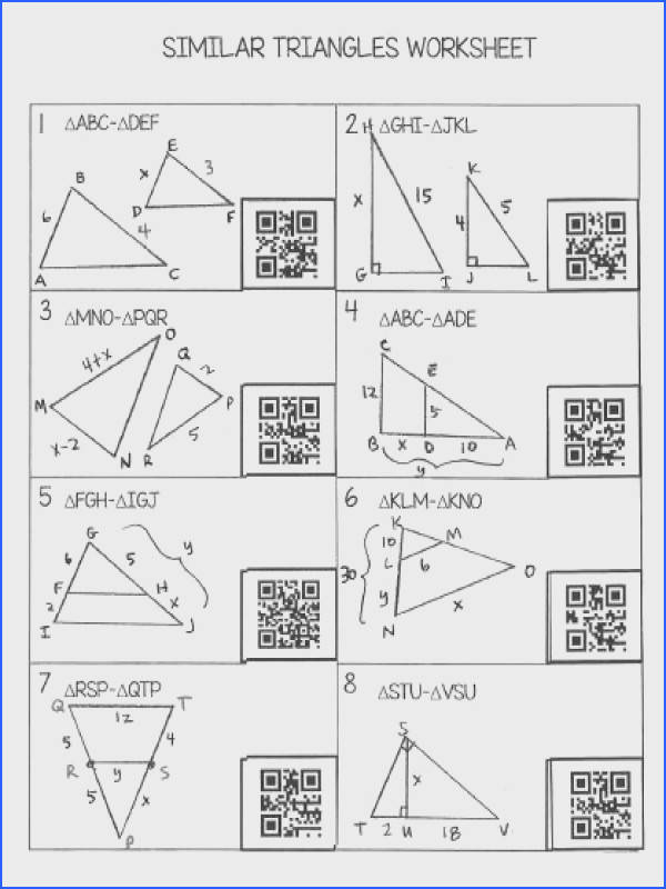 Similar Triangles Worksheet with QR Codes FREE