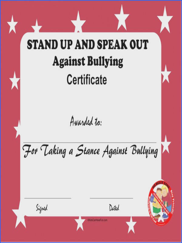 Stand Up and Speak Out Against Bullying Certificate
