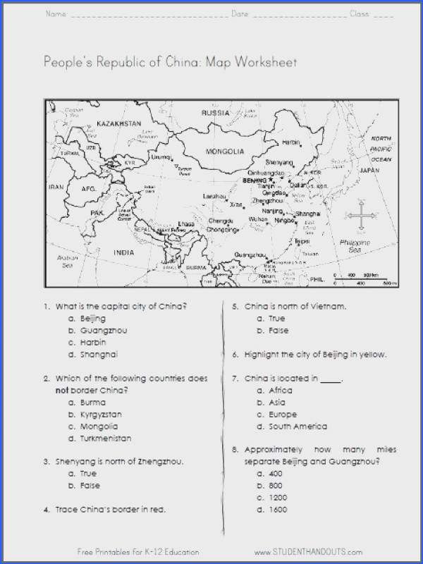 China Free Printable Map Worksheet for Grades 4 6 CCSS for Geography
