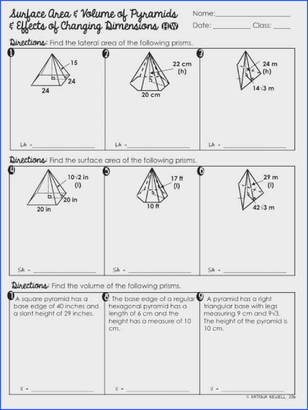 FREE Surface Area of Pyramids and Effects of Dimensional Change Practice Worksheet