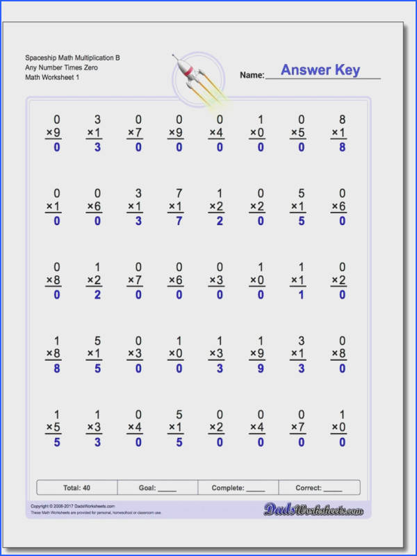 Spaceship Math Timed Multiplication Worksheets