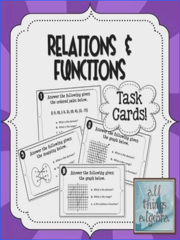 Relations Functions Domain and Range Task Cards
