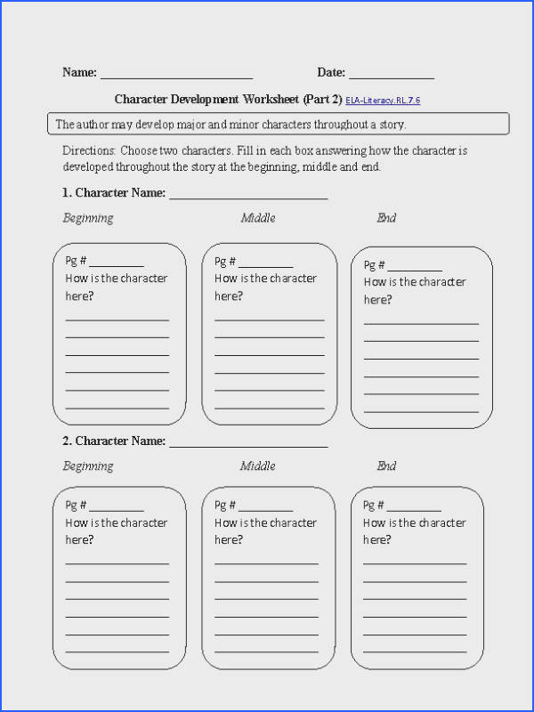 This character analysis worksheet directs the student to write about how a character develops throughout a story