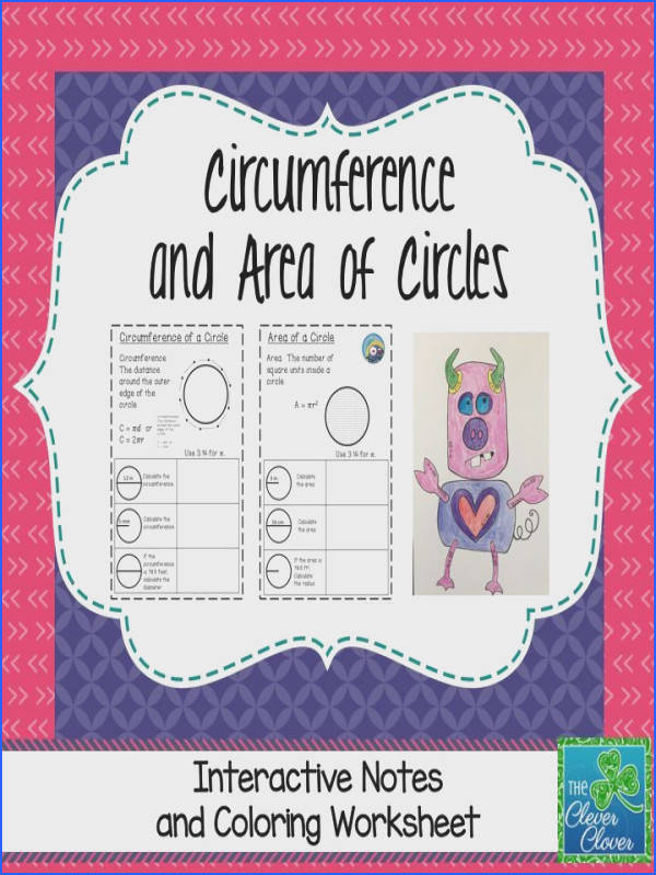 Circumference and Area of Circles Coloring Activity & Notes