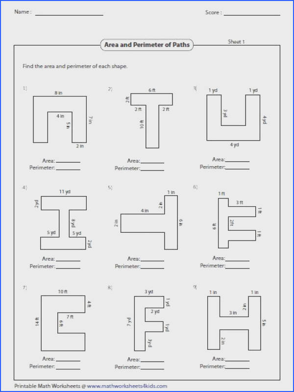 Worksheets contain area and perimeter of rectangle and square L shapes rectangular path tracing and coloring