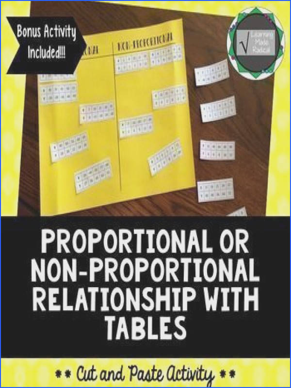 Proportional or Non Proportional Relationship Tables Cut and Paste Activity BONUS ACTIVITY
