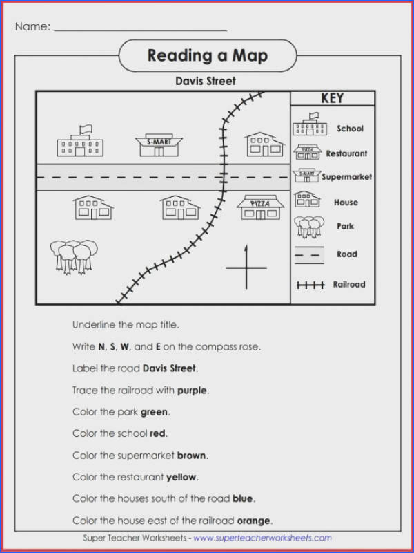 Teach basic map skills with this printable map activity Students will learn how to read