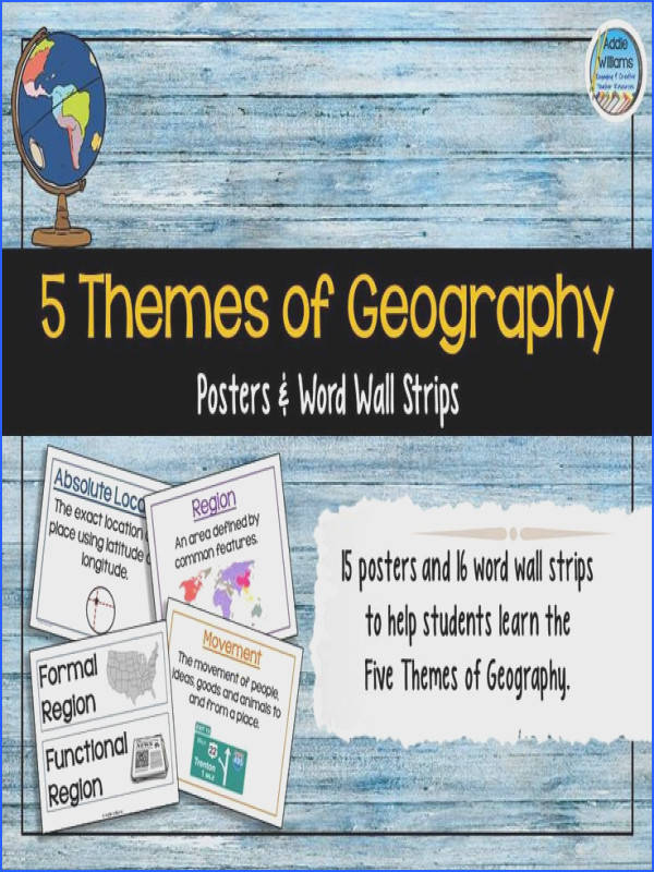 Five Themes of Geography Classroom Posters and Word Wall Strips Includes all 5 themes and