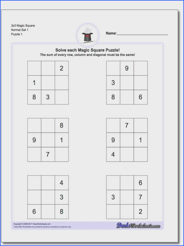 Magic Square Puzzles Magic squares are one of the simplest forms of logic puzzles and