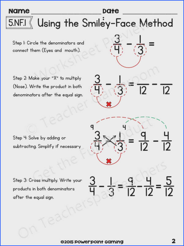 Adding Subtract Fractions with Unlike Denominators using the Smiley Face Method