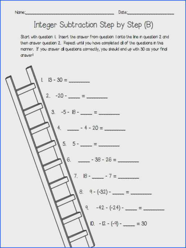 Integer Subtraction Self Checking Worksheets Differentiated