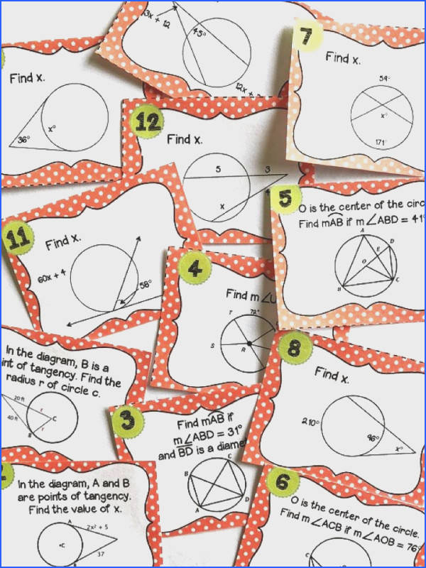 Circle Theorem Task Cards Circle theorem activity Arcs inscribed angles central angles