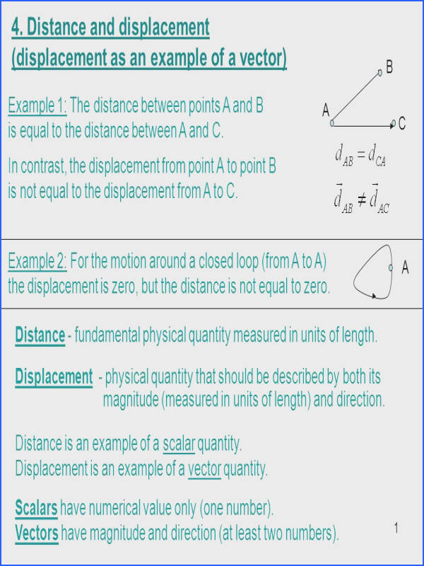 Distance and displacement displacement as an example of a vector