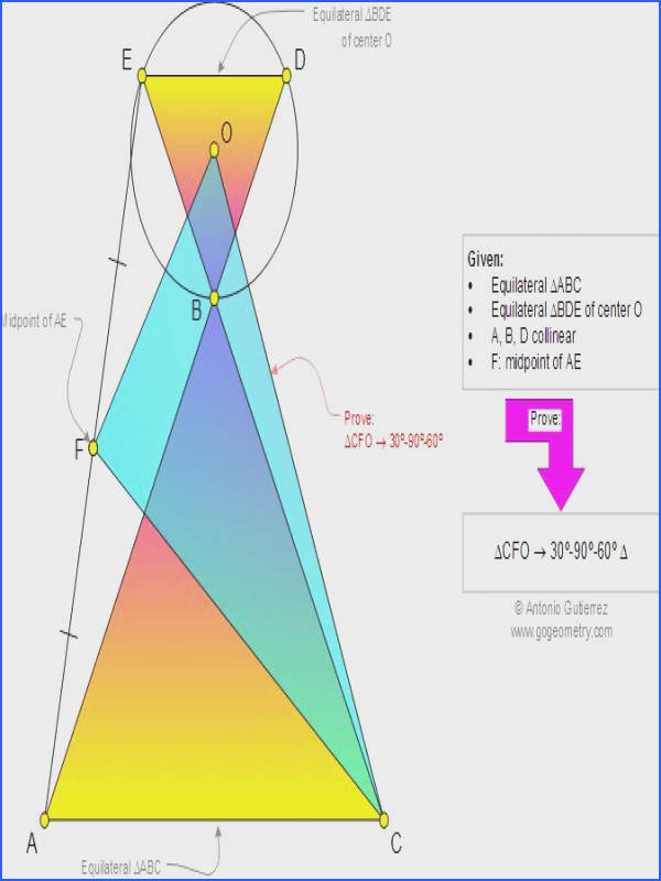 Geometry Problem 956 Two Equilateral Triangles Center Collinear Points Midpoint Right