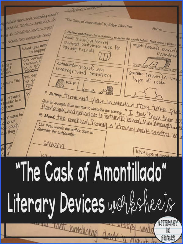 Cask of Amontillado Literary Devices Worksheets Setting Mood Irony & More