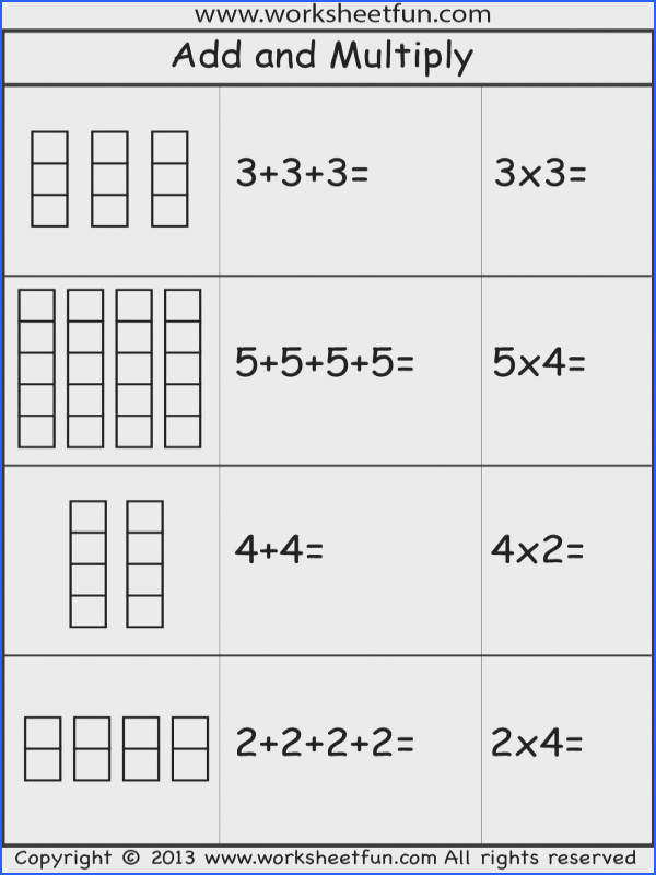 Add and Multiply Repeated Addition 2 Worksheets