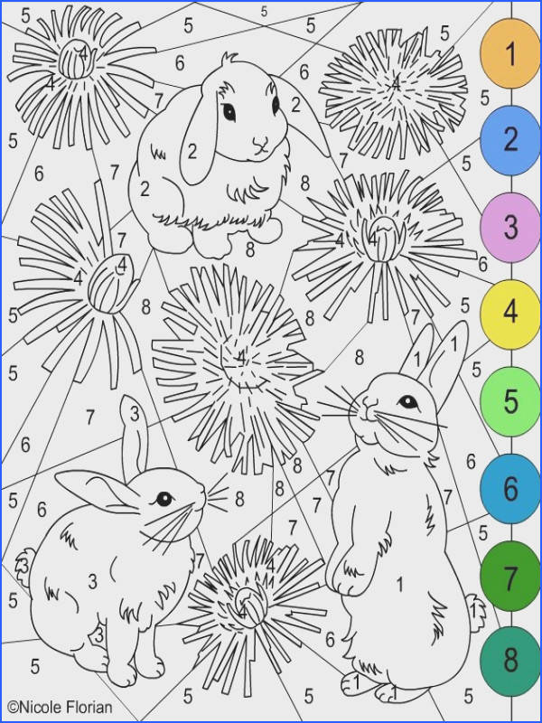 Nicole s Free Coloring Pages COLOR BY NUMBER Bunnies coloring pages