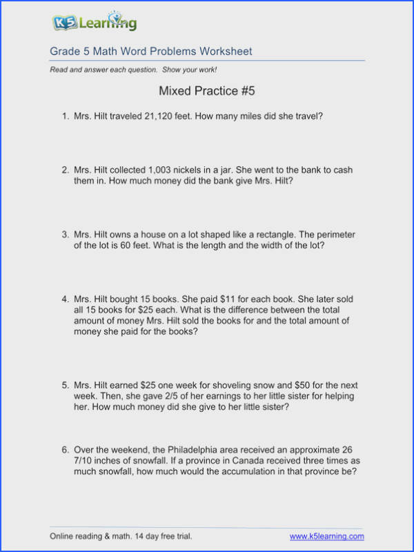 5 Grade Math Problems Worksheets for all Download and Worksheets