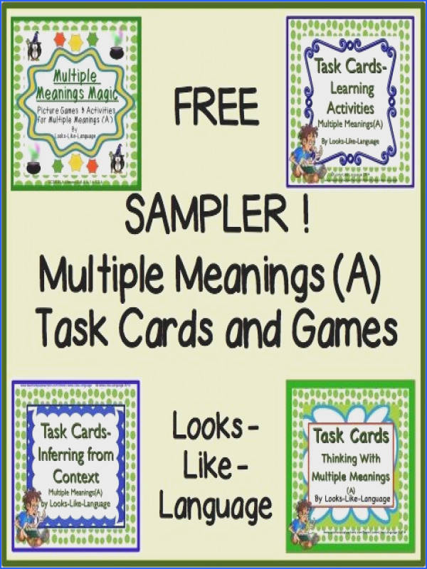 Free Sampler Task Cards and Games Multiple Meanings A