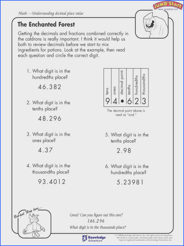 The Enchanted Forest 4th Grade Understanding decimal place value may take a little