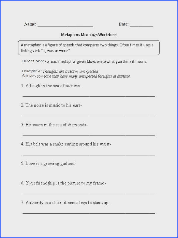 This metaphors worksheet teaches the student about metaphor meanings