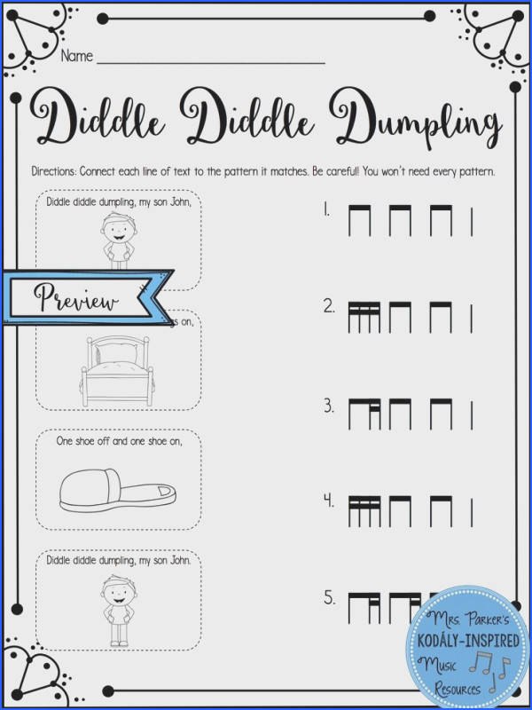 Diddle Diddle Dumpling Rhythm Match Up Worksheet Students draw a line from each line
